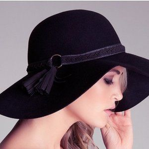 Bebe Wool Floppy Hat Braided Brim with Tassel